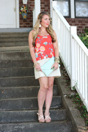 red American Eagle shirt - aquamarine asos purse - eggshell Jcrew skirt