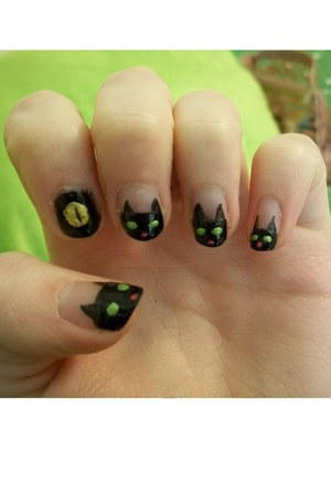 black cats nail art accessories