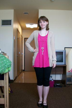 black leggings - pink shirt - beige Old Navy cardigan - black shoes - silver rue