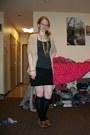Black-polka-dots-dress-black-knee-high-socks-beige-old-navy-cardigan-black