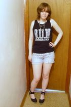 black top - gray necklace - silver accessories - white shorts - black shoes