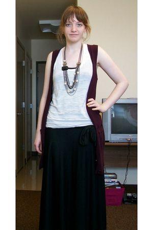 black skirt - white Forever 21 - purple vest - silver necklace