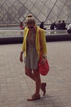striped gianni bini dress - yellow Zara blazer - Marc by Marc Jacobs bag