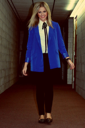 blue electric blue Forever 21 blazer - black citizens of humanity jeans