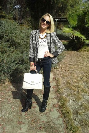 houndstooth Target blazer - navy hollister jeans - off white Forever21 bag