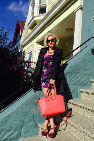 purple material girl dress - coat - hot pink kate spade bag