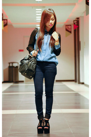 black HappyBoon bag - navy skinny Topshop jeans - light blue Bazaar top
