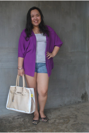 Banana Taipei bag - denim Forever 21 shorts - Love Bayo blouse