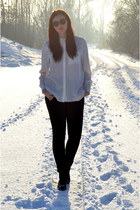 H&M jeans - Bianco boots - silk H&M Trend shirt - H&M sunglasses