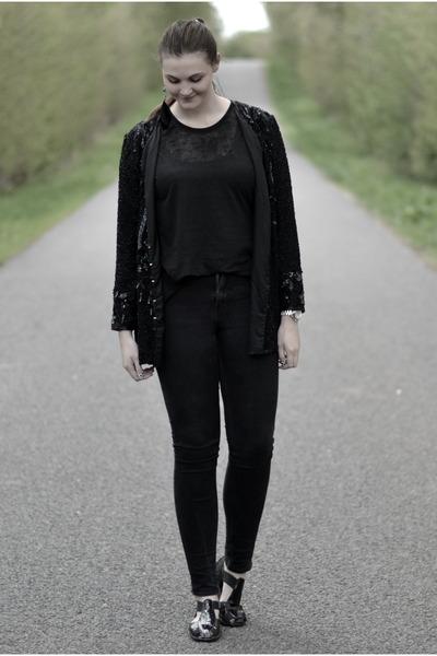 black H&M jeans - black sequin second hand jacket - black Monki top