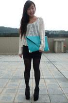 black black bodycon Zara skirt - aquamarine asos bag