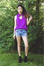 Black-pacsun-boots-blue-levis-shorts-magenta-pacsun-top-shop-lately-ring