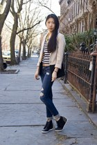 H&M blazer - PacSun jeans - Pop Basic necklace - My Hot Shoes sneakers