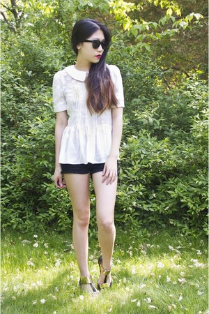 black PacSun shorts - white Zlz top - black My Hot Shoes sandals