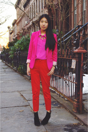 red H&M pants - black PacSun boots - hot pink romwe blazer