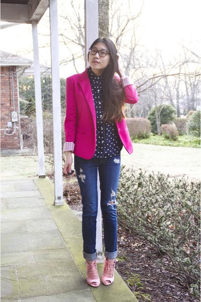 navy Ralph Lauren blouse - bubble gum shoplately shoes - navy PacSun jeans