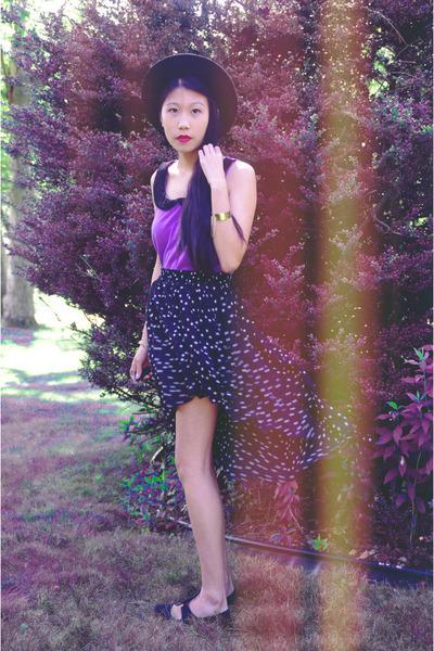 black OASAP skirt - amethyst material girl top