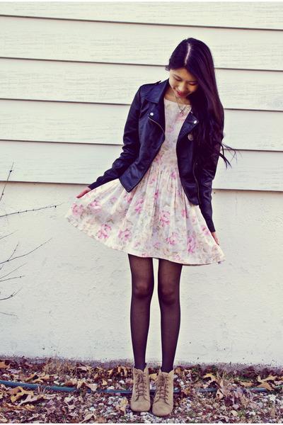 black Sheinside jacket - Zara shoes - vintage dress
