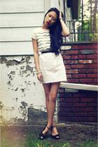 white Shabby Apple dress - black ann taylor heels