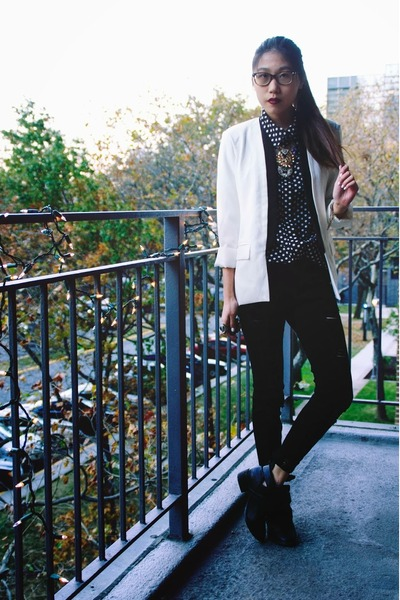 shoplately boots - Zlz blazer - Popbasic blouse - shoplately necklace