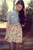 peach Love Culture skirt - sky blue OASAP top