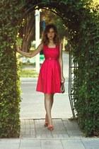 hot pink Oasis dress - bubble gum vivienne westwood shoes - beige Furla bag