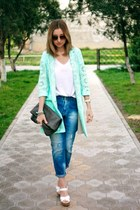 aquamarine River Island jacket - blue Zara jeans - white new look heels