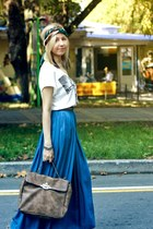 blue Zara skirt - white Bershka shirt - brown New Yorker bag