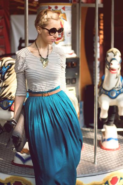 off white Zara blazer - heather gray Mango bag - teal Zara skirt
