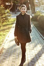 dark brown Zara coat - black Zara boots - dark green new look bag