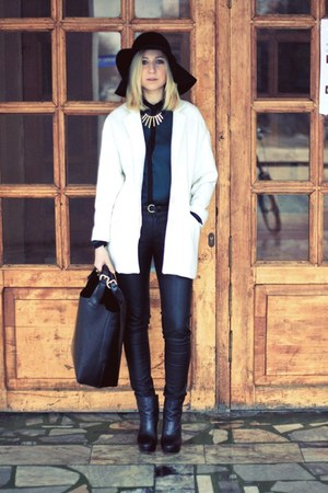 white Zara coat - black H&M hat - black Zara bag
