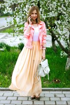 bubble gum Zara jacket - white Topshop bag - eggshell Zara skirt