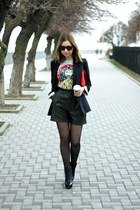 navy Topshop blazer - black Zara boots - red Topshop bag