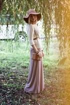 white Zara sweater - camel H&M hat - nude Zara bag - light pink Zara skirt