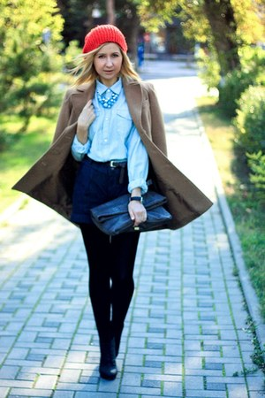 light blue H&M blouse - camel Stradivarius coat - hot pink H&M hat