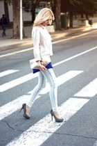 heather gray River Island flats - off white H&M sweater - blue pull&bear bag