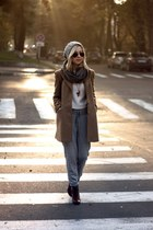 camel Stradivarius coat - burnt orange Bershka boots - off white H&M sweater