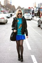 blue Zara skirt - black H&M boots - teal Bershka sweater