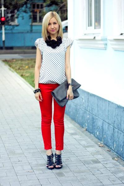 white Zara blouse - heather gray Mango bag - red Mango pants - black Zara heels