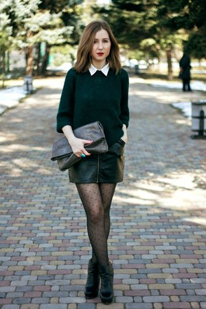 forest green Topshop sweater - black Zara boots - charcoal gray Mango bag