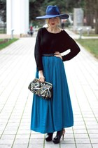 blue Zara hat - black H&M sweater - navy new look bag - teal Zara skirt