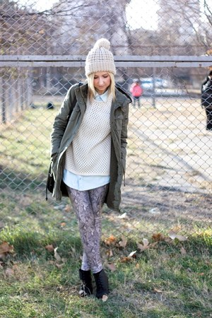 off white Topshop hat - black H&M boots - olive green New Yorker coat