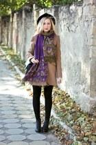 black H&M boots - camel Stradivarius coat - black H&M hat
