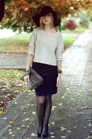 navy Mango dress - black Zara shoes - black H&M hat - off white H&M sweater