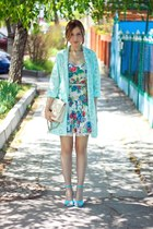 aquamarine Zara dress - sky blue River Island jacket - white Bershka bag