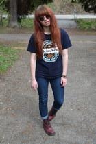 crimson Dr Martens boots - blue New Yorker jeans - navy vintage shirt