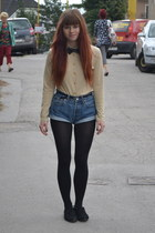 black cropp shoes - black Marks & Spencer tights - blue Levis shorts