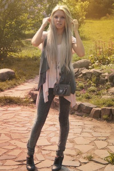 heather gray Vero Moda jeans - silver Tally Weijl bag - gray conhpol bis heels -