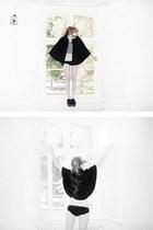crop top top - dark red velvet shoes - black panties - black cape