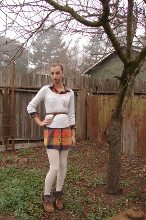 Target boots - Urban Outfitters dress - ae sweater - Forever 21 tights